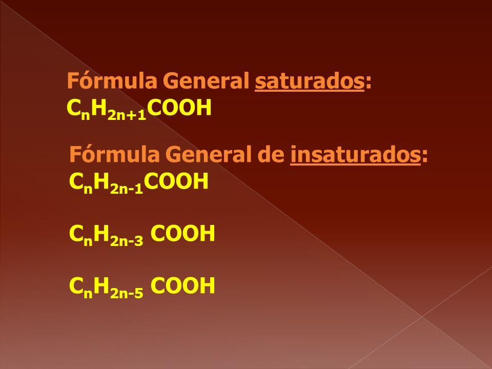 Fórmula General saturados: CnH2n+1COOH