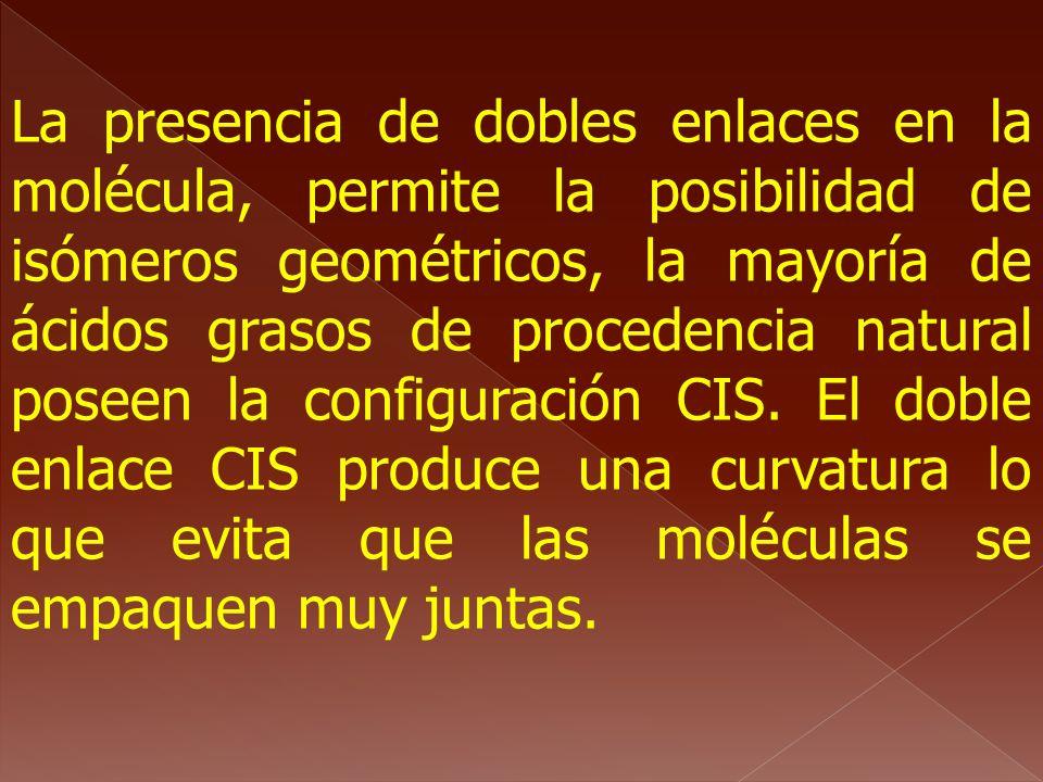 La presencia de dobles enlaces en la molécula, permite la posibilidad de isómeros geométricos, la mayoría de ácidos grasos de procedencia natural poseen la configuración CIS.