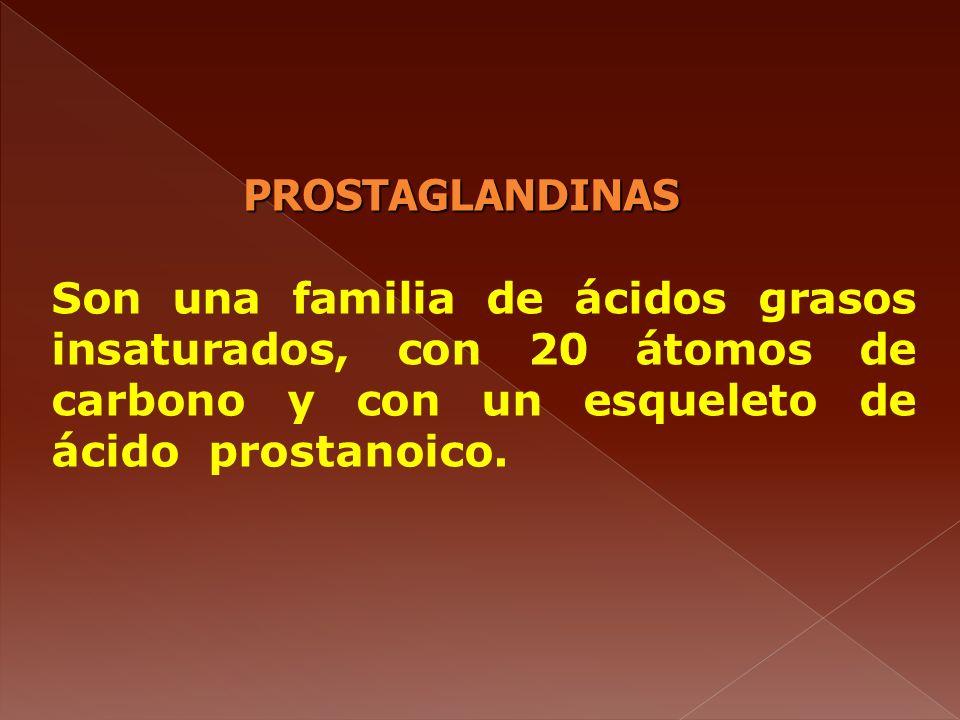 PROSTAGLANDINAS Son una familia de ácidos grasos insaturados, con 20 átomos de carbono y con un esqueleto de ácido prostanoico.