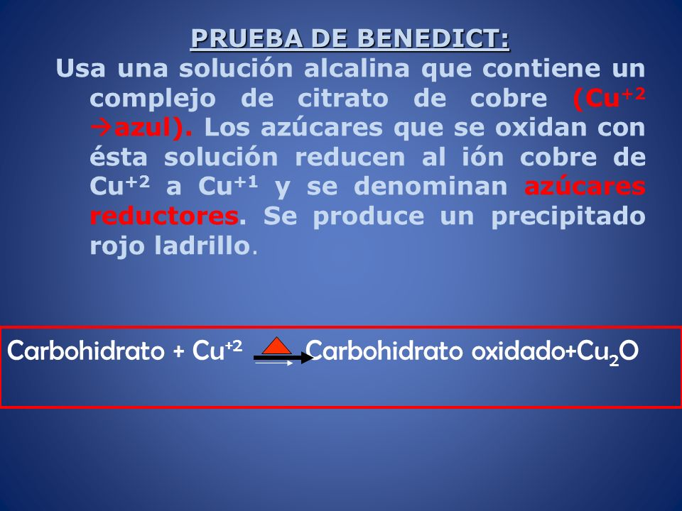 Carbohidrato + Cu+2 Carbohidrato oxidado+Cu2O
