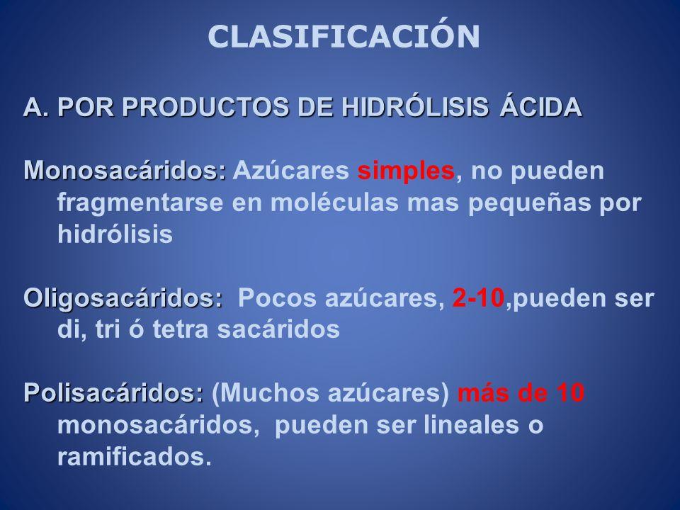 CLASIFICACIÓN POR PRODUCTOS DE HIDRÓLISIS ÁCIDA