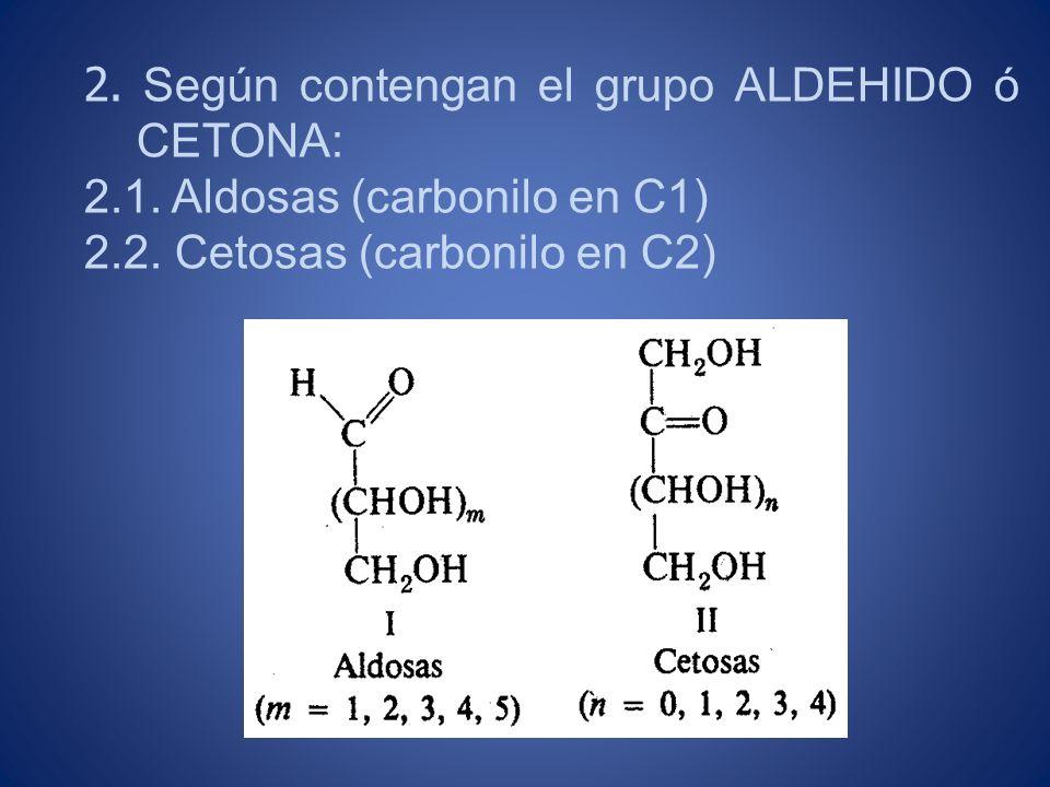 2. Según contengan el grupo ALDEHIDO ó CETONA: