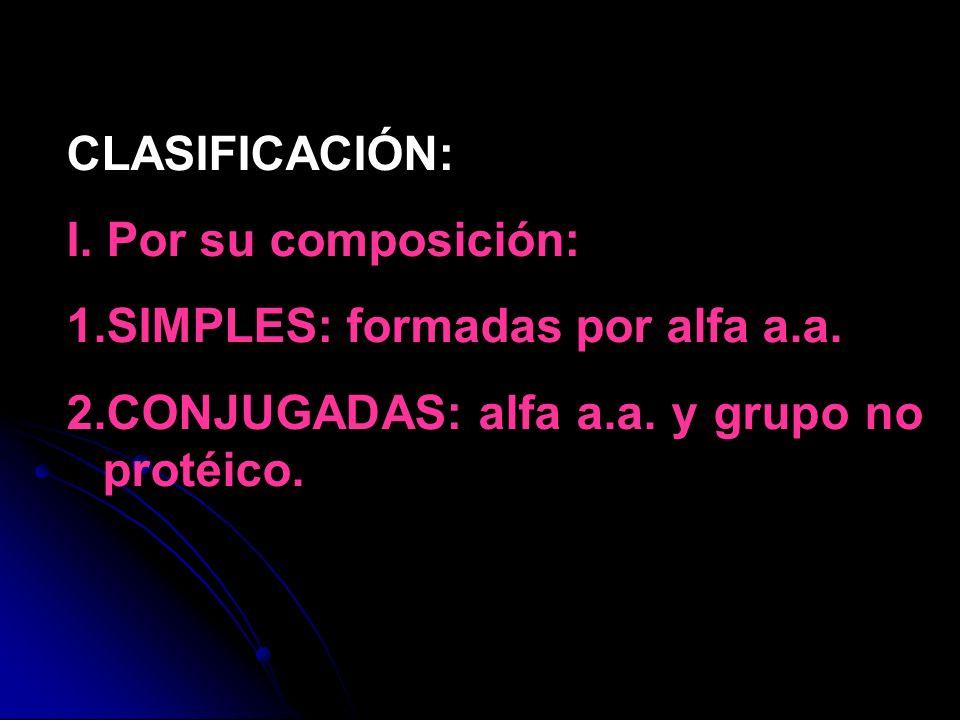 CLASIFICACIÓN: I. Por su composición: SIMPLES: formadas por alfa a.a.