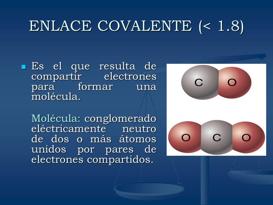 ENLACE COVALENTE (< 1.8)