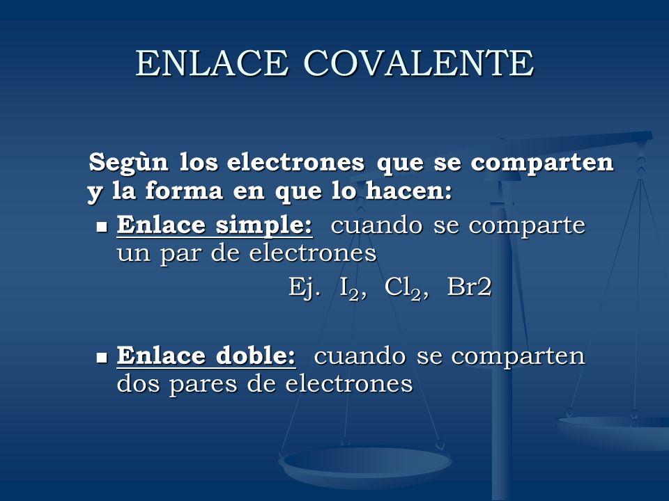 ENLACE COVALENTESegùn los electrones que se comparten y la forma en que lo hacen: Enlace simple: cuando se comparte un par de electrones.