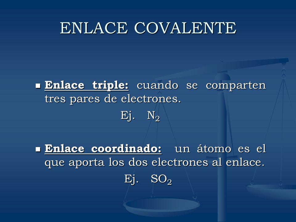ENLACE COVALENTEEnlace triple: cuando se comparten tres pares de electrones. Ej. N2.