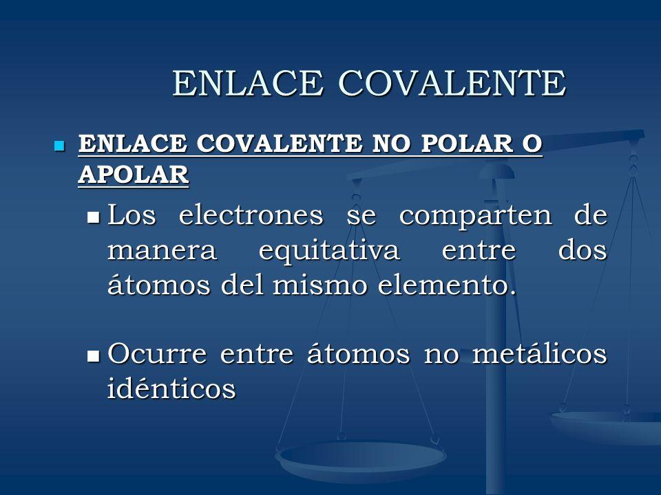 ENLACE COVALENTE ENLACE COVALENTE NO POLAR O APOLAR. Los electrones se comparten de manera equitativa entre dos átomos del mismo elemento.