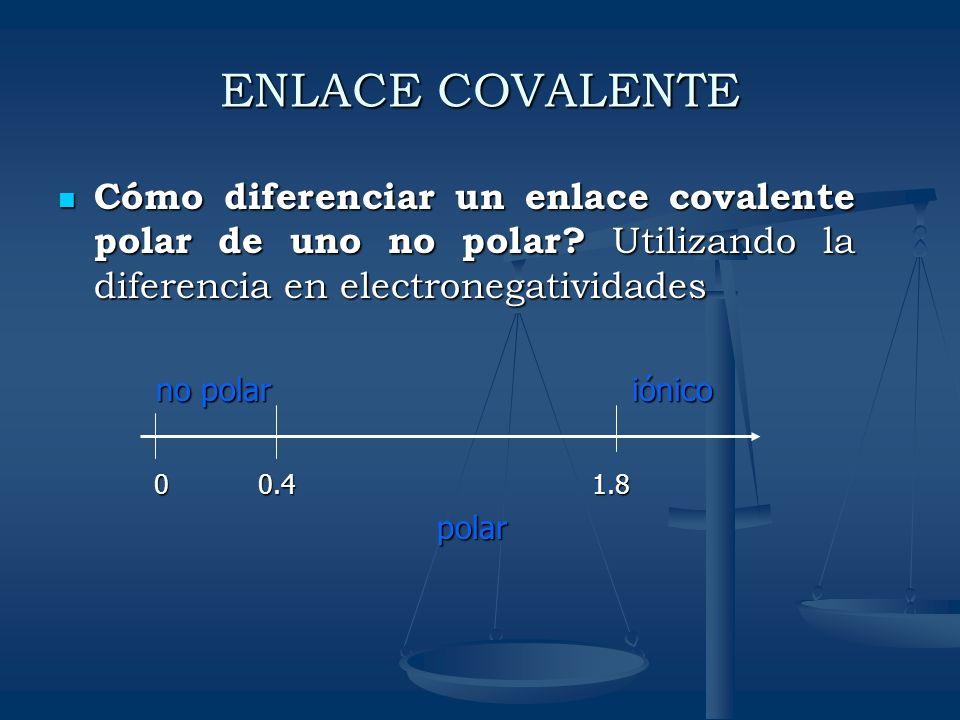 ENLACE COVALENTE Cómo diferenciar un enlace covalente polar de uno no polar Utilizando la diferencia en electronegatividades.