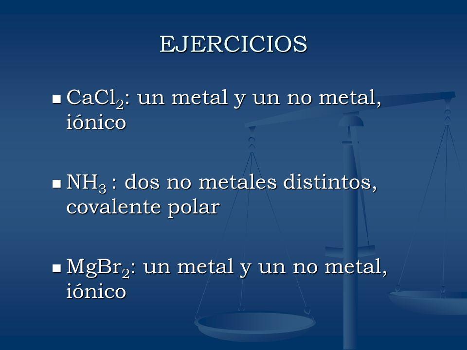 EJERCICIOS CaCl2: un metal y un no metal, iónico