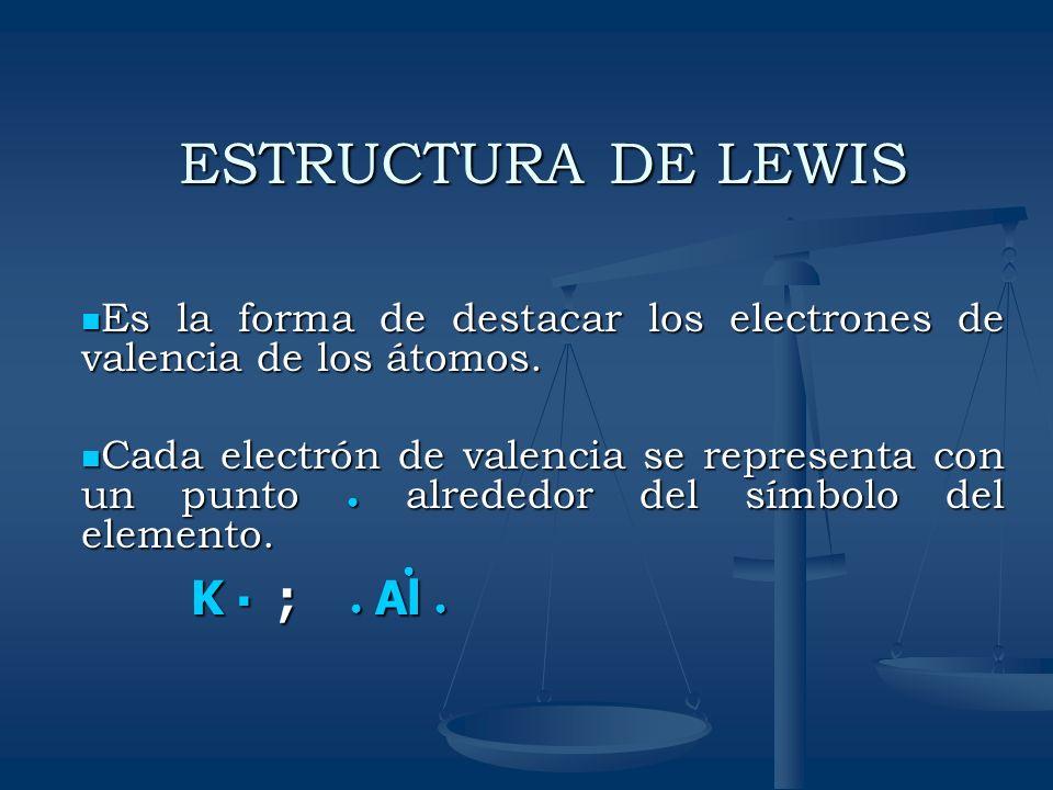 ESTRUCTURA DE LEWIS K ▪ ; ● Al ●