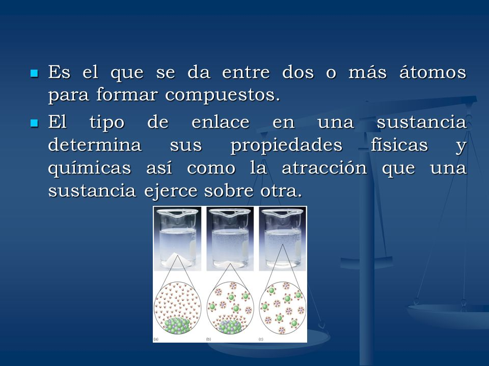 Es el que se da entre dos o más átomos para formar compuestos.