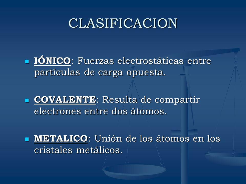 CLASIFICACION IÓNICO: Fuerzas electrostáticas entre partículas de carga opuesta. COVALENTE: Resulta de compartir electrones entre dos átomos.