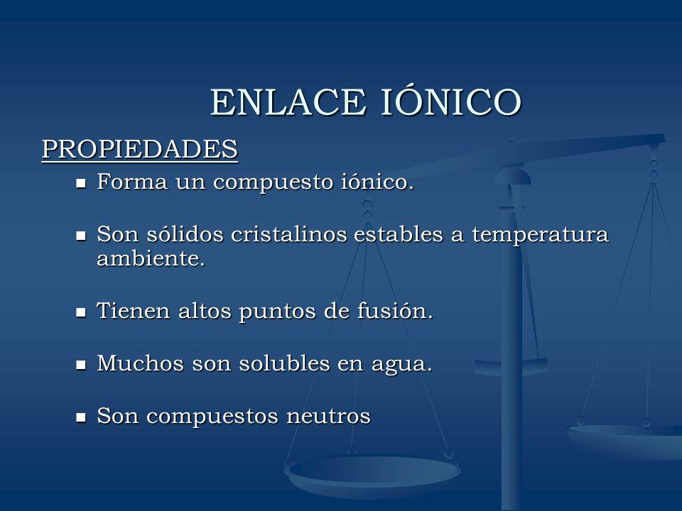ENLACE IÓNICO PROPIEDADES Forma un compuesto iónico.