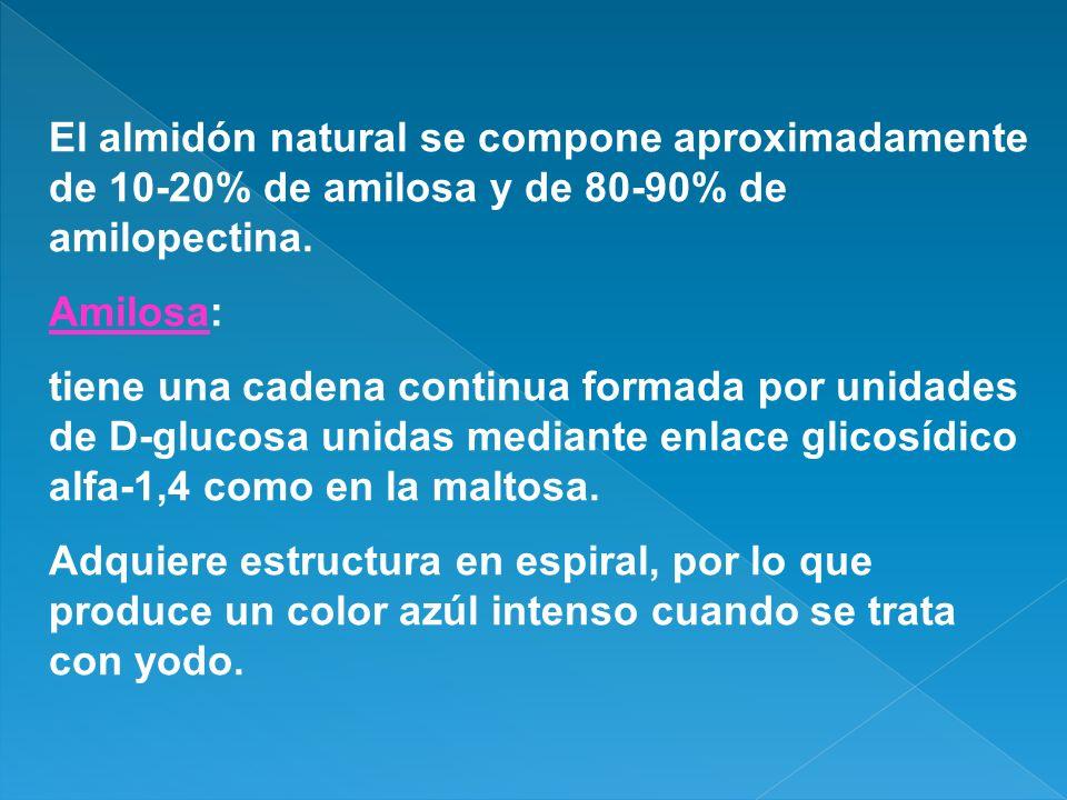 El almidón natural se compone aproximadamente de 10-20% de amilosa y de 80-90% de amilopectina.
