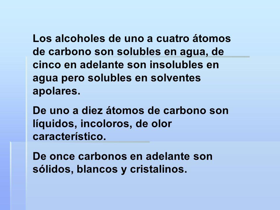 Los alcoholes de uno a cuatro átomos de carbono son solubles en agua, de cinco en adelante son insolubles en agua pero solubles en solventes apolares.