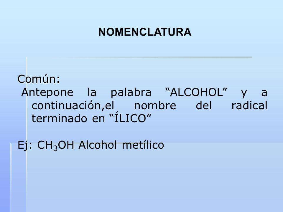 NOMENCLATURAComún: Antepone la palabra ALCOHOL y a continuación,el nombre del radical terminado en ÍLICO