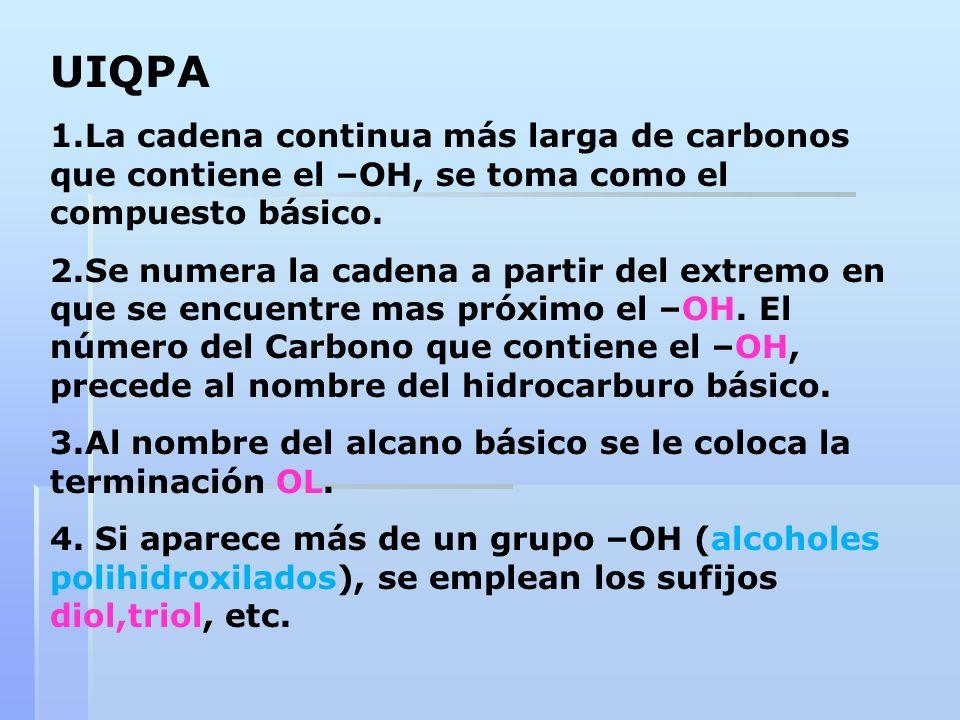 UIQPA 1.La cadena continua más larga de carbonos que contiene el –OH, se toma como el compuesto básico.