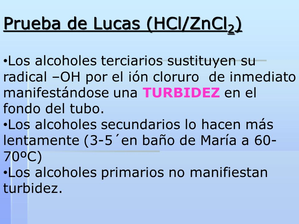 Prueba de Lucas (HCl/ZnCl2)
