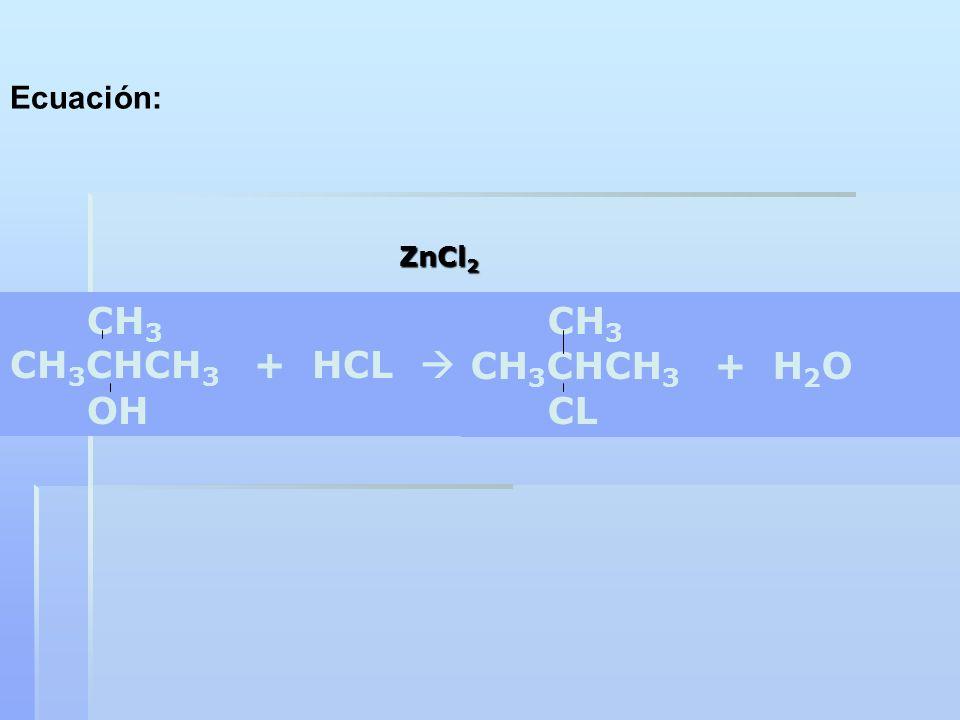 Ecuación: ZnCl2 CH3 CH3CHCH3 + HCL  OH CH3 CH3CHCH3 + H2O CL