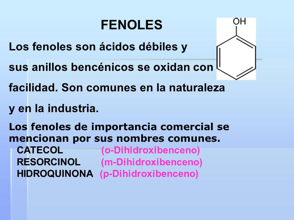 Los fenoles son ácidos débiles y sus anillos bencénicos se oxidan con