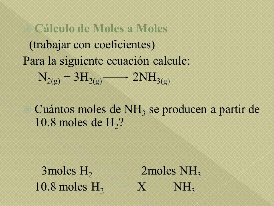 Cálculo de Moles a Moles