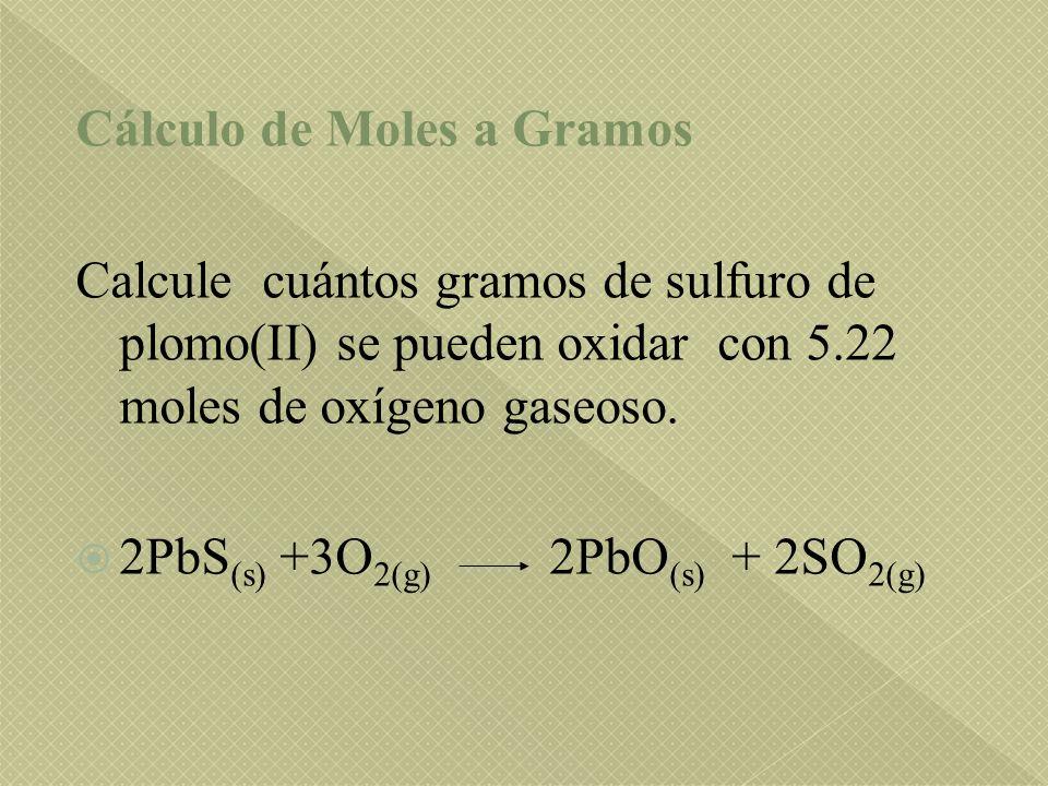 Cálculo de Moles a Gramos