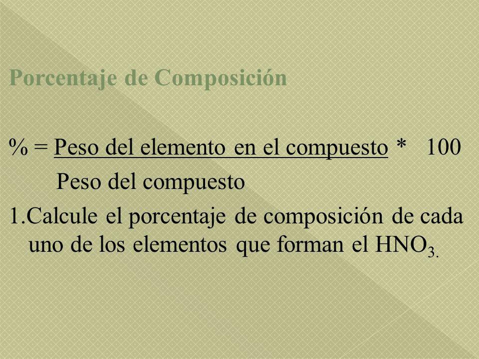 Porcentaje de Composición % = Peso del elemento en el compuesto