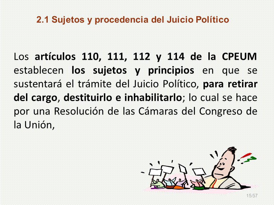 2.1 Sujetos y procedencia del Juicio Político