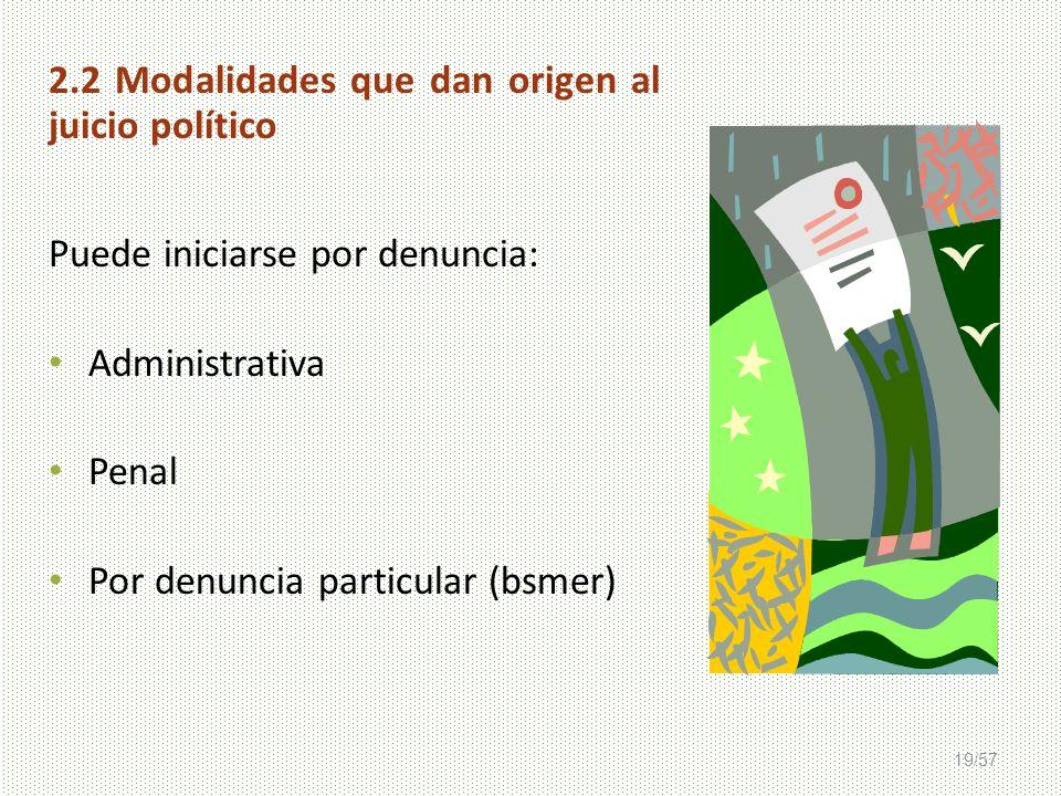 2.2 Modalidades que dan origen al juicio político