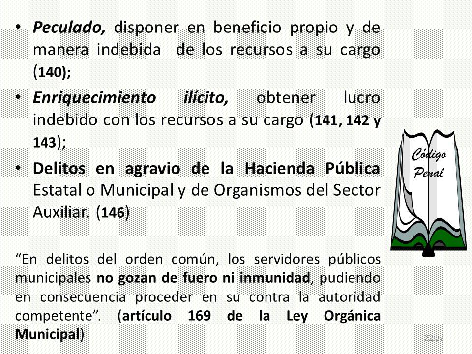 Peculado, disponer en beneficio propio y de manera indebida de los recursos a su cargo (140);