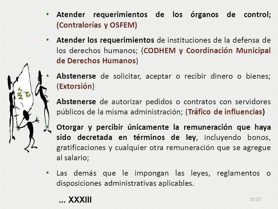 Atender requerimientos de los órganos de control; (Contralorías y OSFEM)