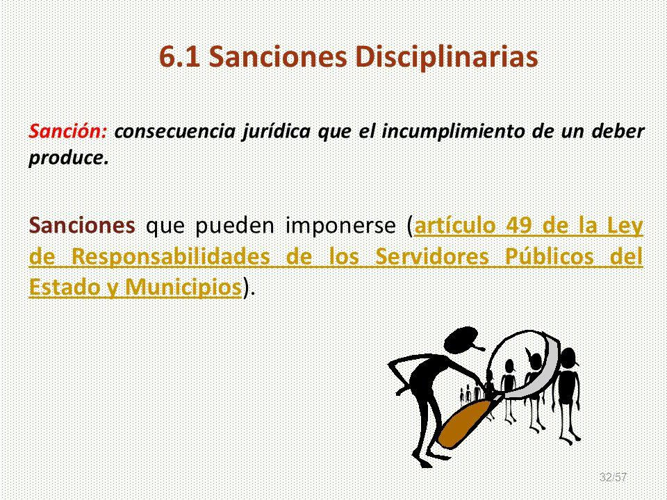 6.1 Sanciones Disciplinarias