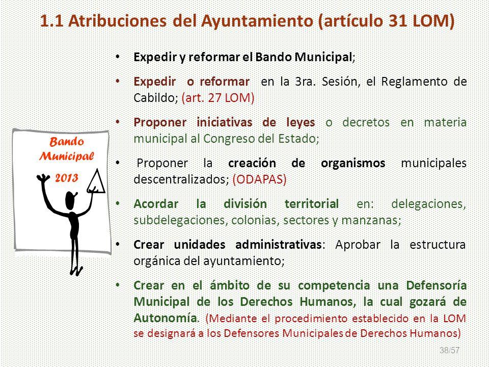 1.1 Atribuciones del Ayuntamiento (artículo 31 LOM)