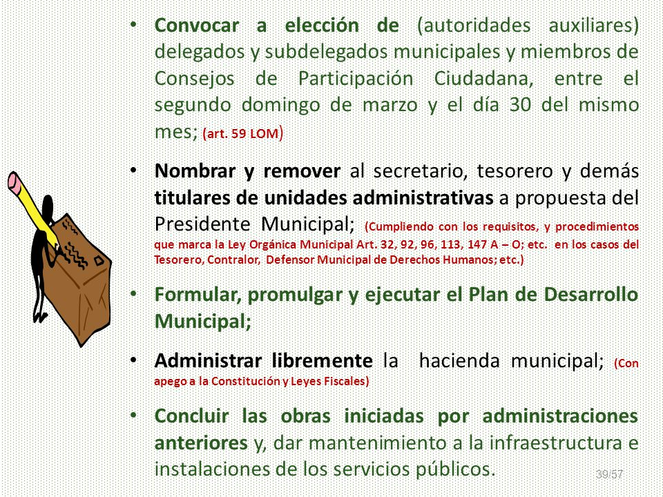 Formular, promulgar y ejecutar el Plan de Desarrollo Municipal;