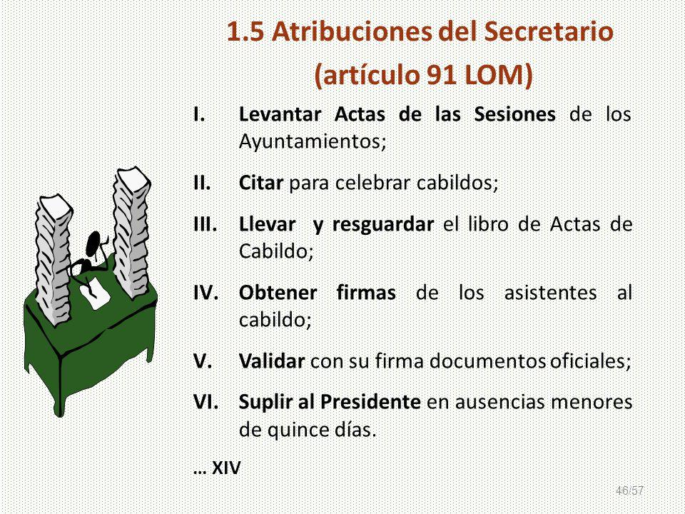1.5 Atribuciones del Secretario