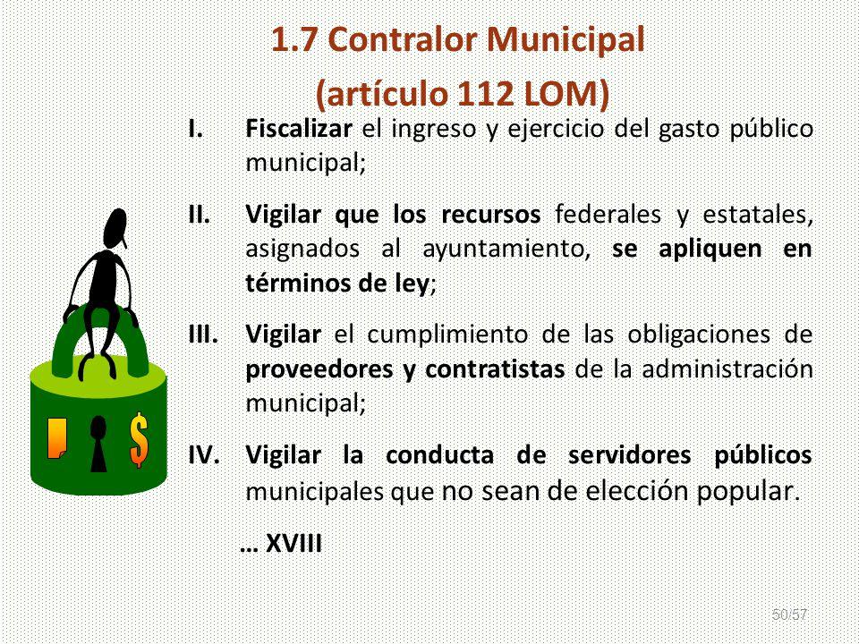 1.7 Contralor Municipal (artículo 112 LOM)