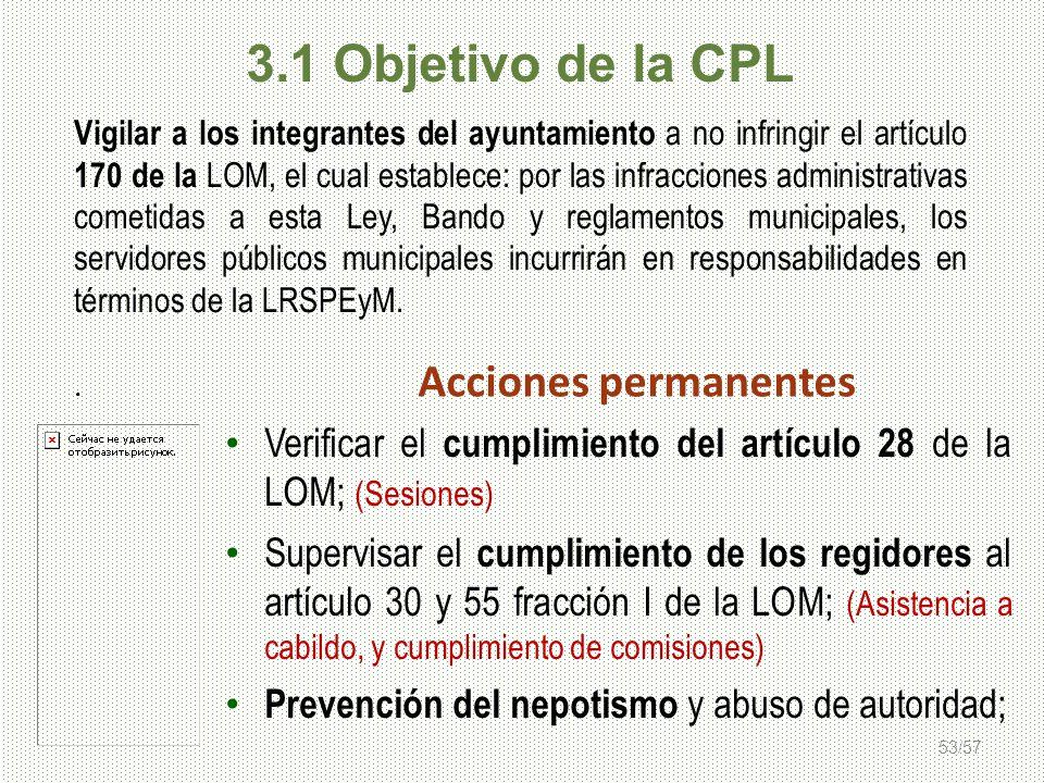 3.1 Objetivo de la CPL Acciones permanentes