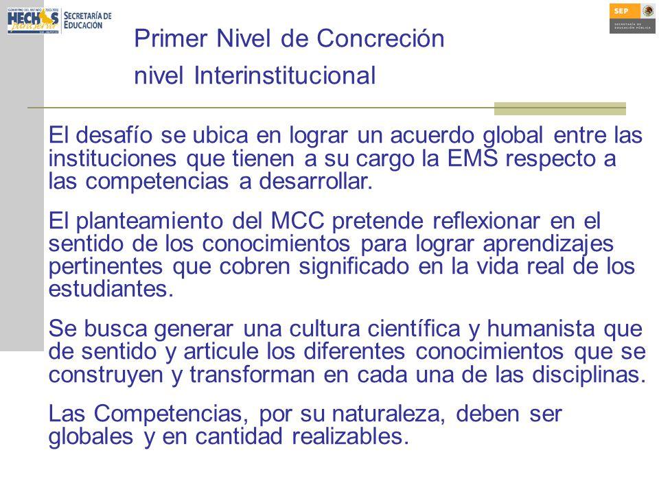 Primer Nivel de Concreción nivel Interinstitucional