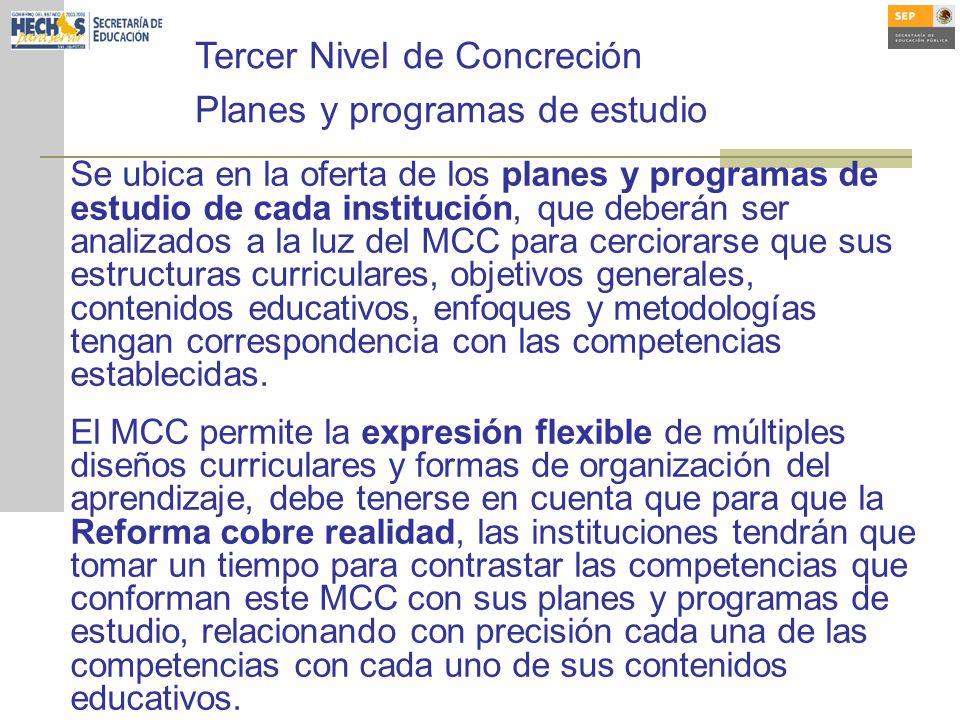 Tercer Nivel de Concreción Planes y programas de estudio