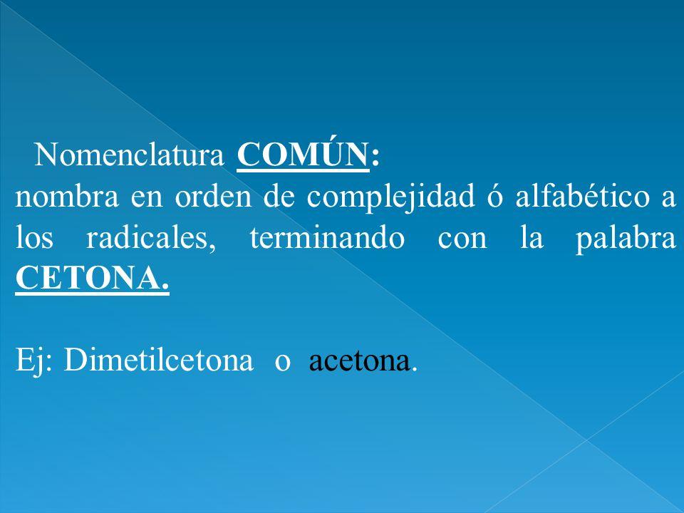 Nomenclatura COMÚN:nombra en orden de complejidad ó alfabético a los radicales, terminando con la palabra CETONA.