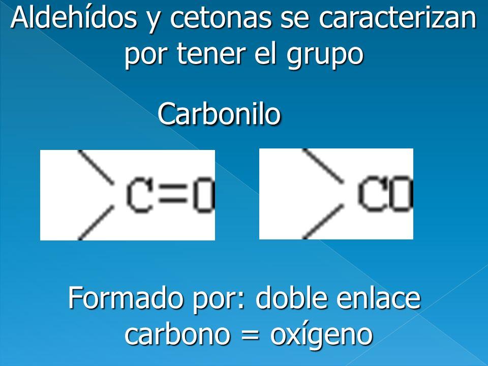 Aldehídos y cetonas se caracterizan por tener el grupo Carbonilo