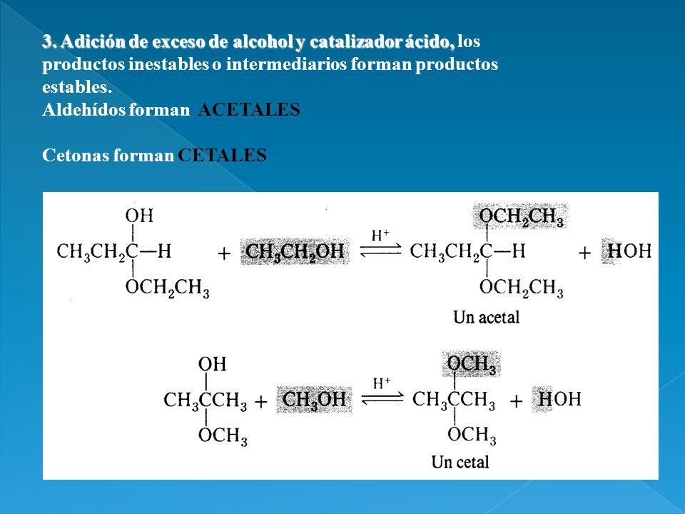 3. Adición de exceso de alcohol y catalizador ácido, los