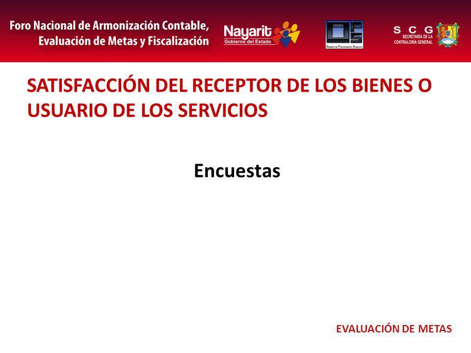 SATISFACCIÓN DEL RECEPTOR DE LOS BIENES O USUARIO DE LOS SERVICIOS