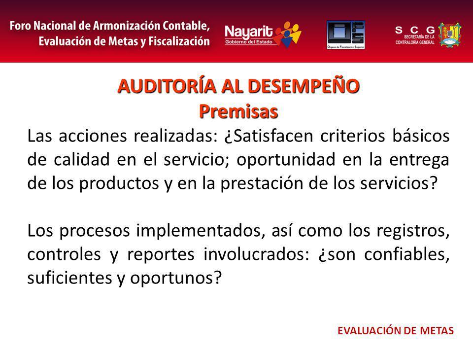 AUDITORÍA AL DESEMPEÑO Premisas