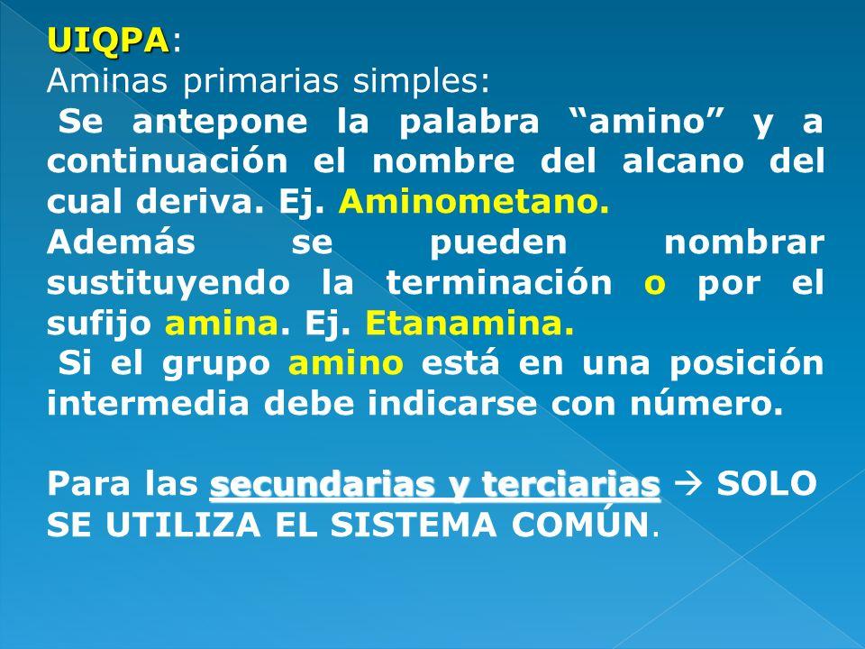 UIQPA: Aminas primarias simples: Se antepone la palabra amino y a continuación el nombre del alcano del cual deriva. Ej. Aminometano.