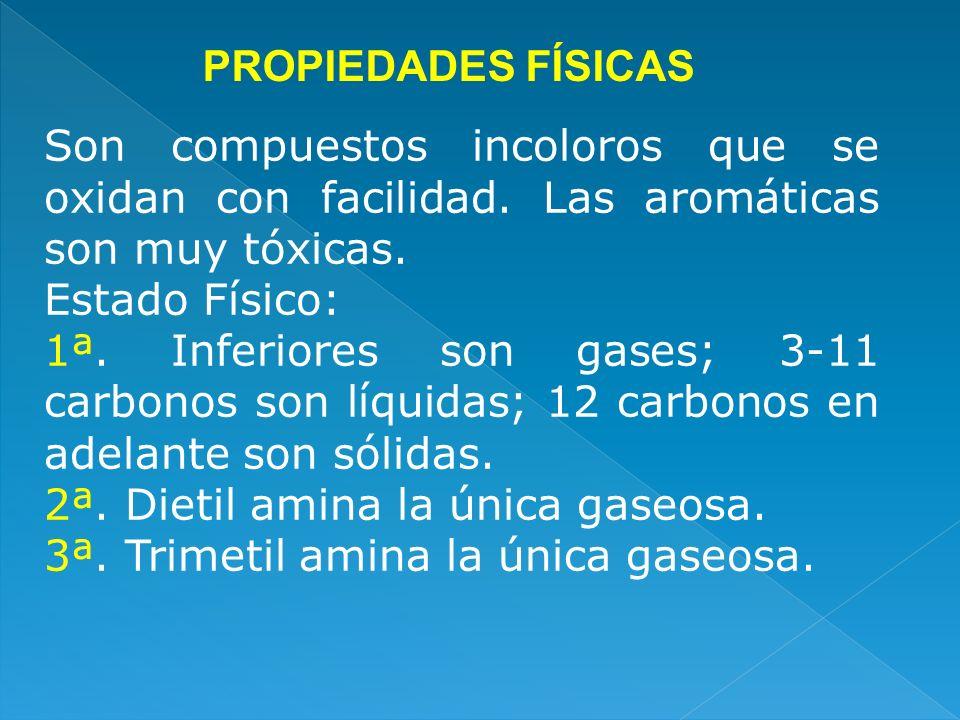 PROPIEDADES FÍSICAS Son compuestos incoloros que se oxidan con facilidad. Las aromáticas son muy tóxicas.