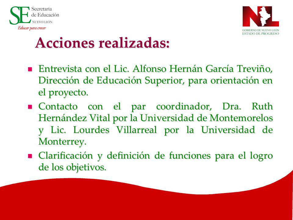 Acciones realizadas: Entrevista con el Lic. Alfonso Hernán García Treviño, Dirección de Educación Superior, para orientación en el proyecto.