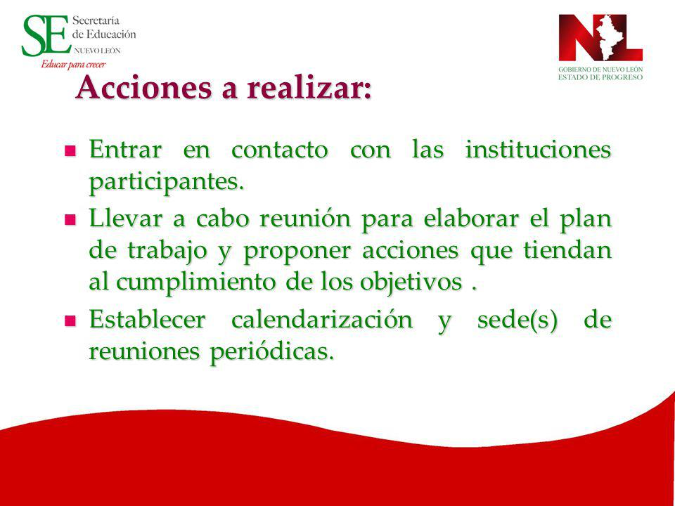 Acciones a realizar: Entrar en contacto con las instituciones participantes.
