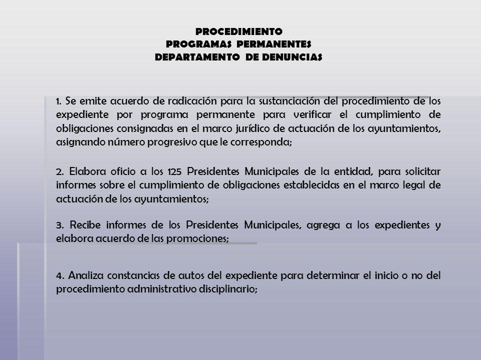 PROGRAMAS PERMANENTES DEPARTAMENTO DE DENUNCIAS
