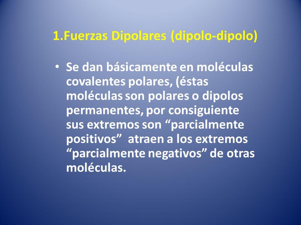 1.Fuerzas Dipolares (dipolo-dipolo)